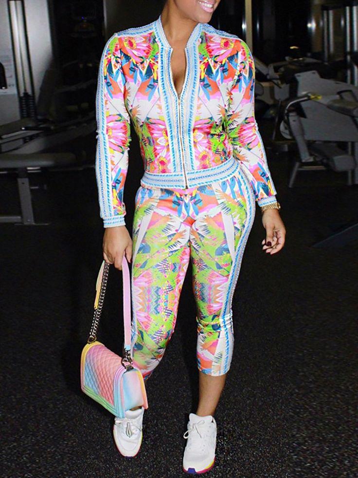 Trendy Women Foral Print Zipper Twinsets