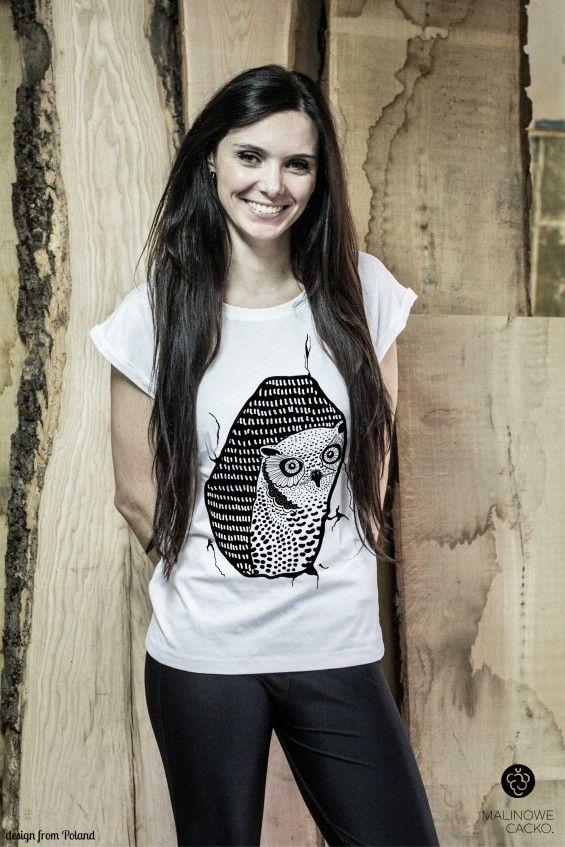 Koszulka Damska Sowa  - Malinowe Cacko