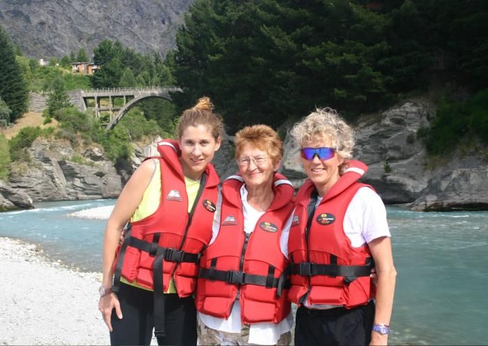 Shotover Jet Celebrity Faces Monica Seles in Queenstown, New Zealand getting ready for an adventure