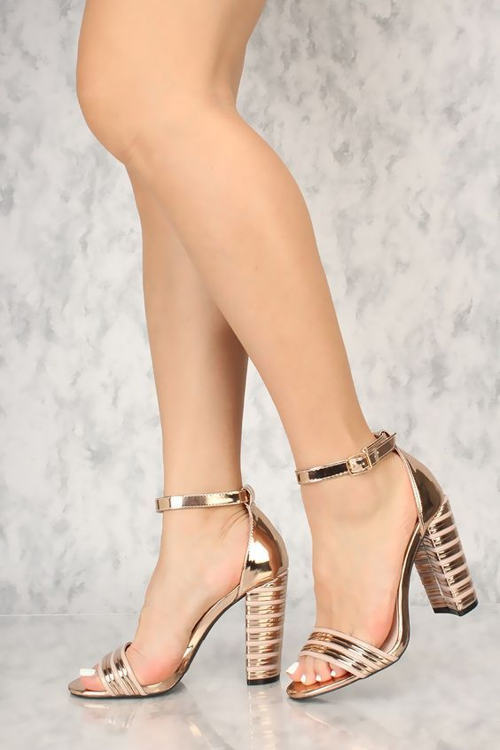 08cd65a928b Sexy Rose Gold Ankle Strap Chunky Heel Texture Single Sole