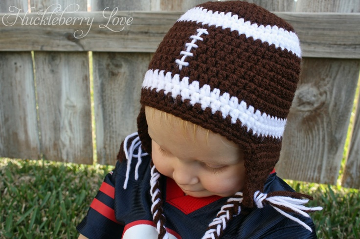 Huckleberry Love: Crochet Football Hat w/ Earflaps {Free Pattern}