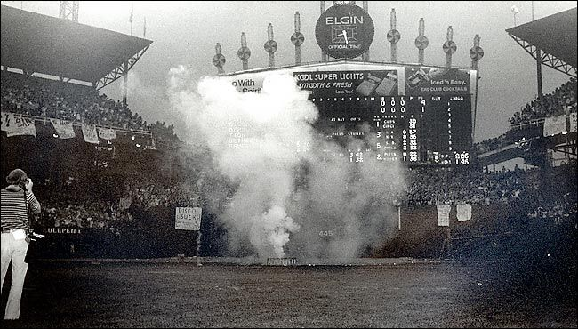 UP IN SMOKE In 1979, a Disco Demolition Night evolved into fans' burning records on the field and caused the White Sox to forfeit a game.
