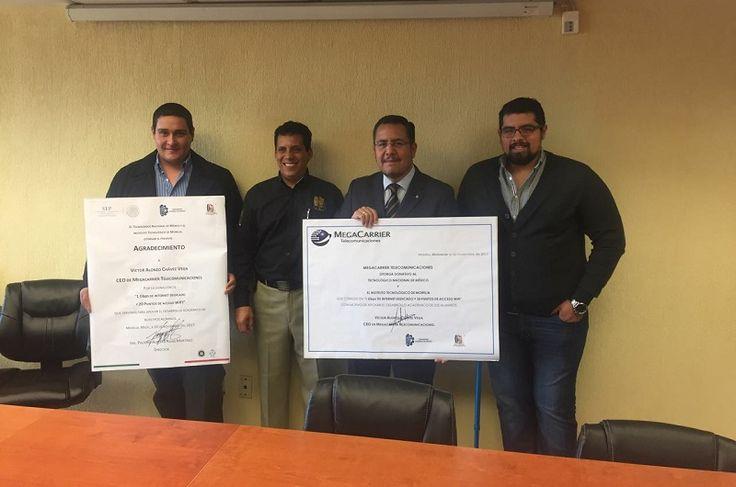 El CEO de MegaCarrier Telecomunicaciones, Víctor Alonzo Chávez Vega, ex alumno del Instituto Tecnológico de Morelia hizo la donación a dicha institución de manera formal del servicio de Internet Dedicado ...