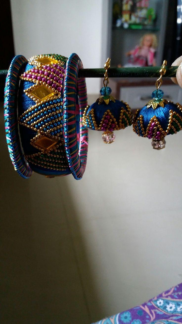 Silk thread bangles &jhumkas