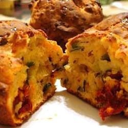 Savoury Muffins - pumpkin, sundried tomoatoes and feta cheese