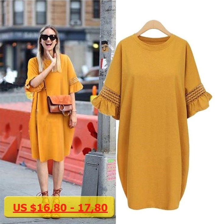 2017 Plus Size Flare Sleeve 100% Cotton Women Dress Autumn Fat MM Loose Show Thin Larger Size Dresses O-Neck Big Size Vestidos