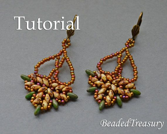 Chandelier - beadwoven earrings tutorial, with two-hole SuperDuo and Rizo beads.