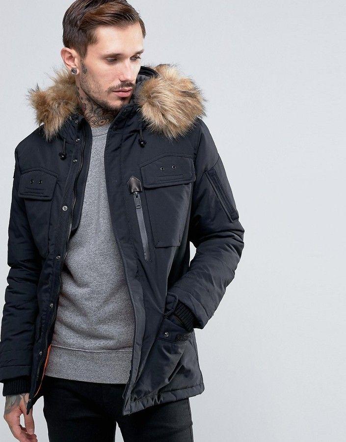 Schott Thunder Hooded Parka Detachable Faux Fur Trim