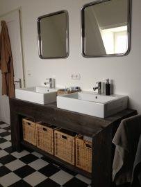 Badkamer meubel (recht) van steigerhout (41220131526Black)