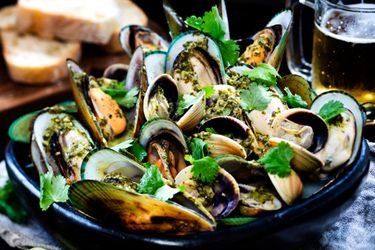Coriander dressing with mussels and cockles
