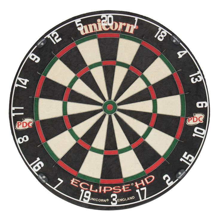 Unicorn Eclipse HD TV Edition Bristle Dartboard. Official Dartboard of the professional darts corporation. Patent pending, seamless playing surface for higher scores. Hd 20/20 White digital number ring. Ultra-slim Spider Wire. 100 percent staple free White construction.