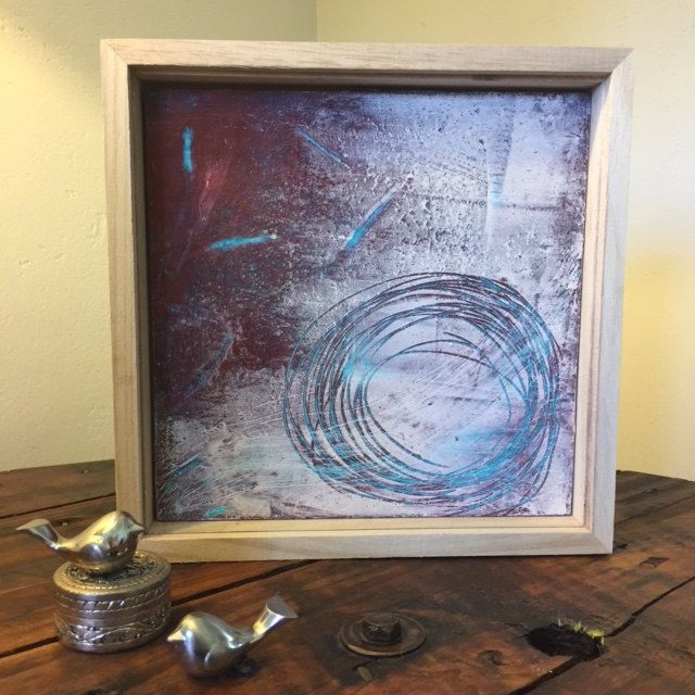 Cold encaustic wax layered abstract art work in teal, red, white and burnt umber by TheFlightyFlamingo on Etsy