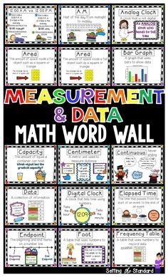 This download includes vocabulary posters for teaching Measurement, Graphing, Area, Perimeter, & Time. Each poster contains the vocabulary word, a kid friendly definition, and picture. Perfect to introduce new vocabulary and/or hang on a math bulletin board. These words are a great visual tool to help reinforce student learning.  Vocabulary terms are aligned to common core standards within the Number and Operations in Base Ten (3.MD.1-3.MD.8) *posters are created in both color & black and…