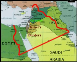 Israel as given to Abraham. Map with land of Israel with borders in red below representing the land that God gave to Israel through the Abraham Covenant compared to what Israel actually has today in gold on the map above it.