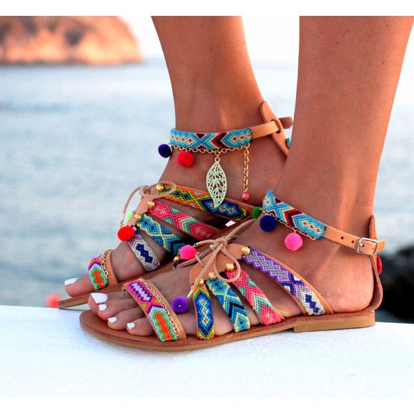 Sandals Gladiator Leather Sandals Friendship Bracelets Pom Pom Sandals... (360… ALL WOMEN'S SHOES http://amzn.to/2kR0oA8