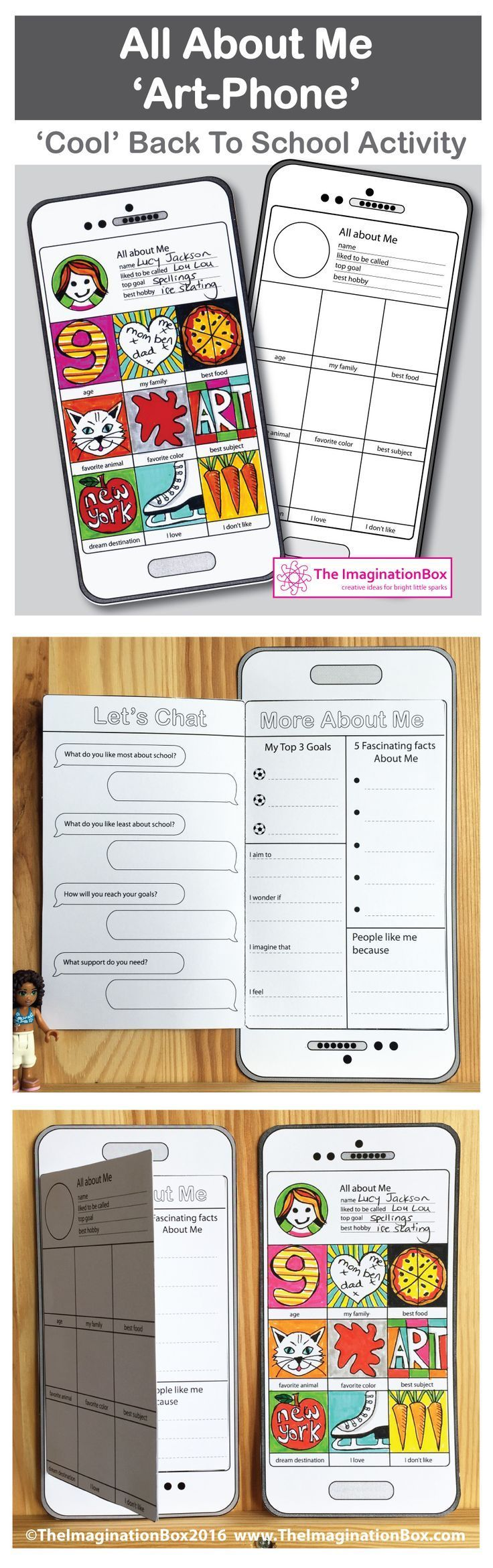 Engage children creatively with this Instagram style, 'tech' mobile phone/tablet 'All About Me' first week back, art and writing activity.   by The Imagination Box