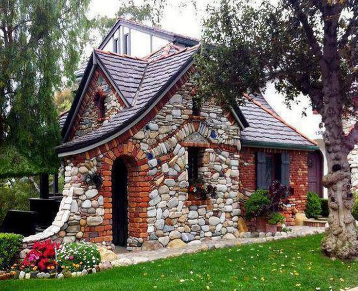 Small can be stunning! Stone and brick fairy tale style cottage.