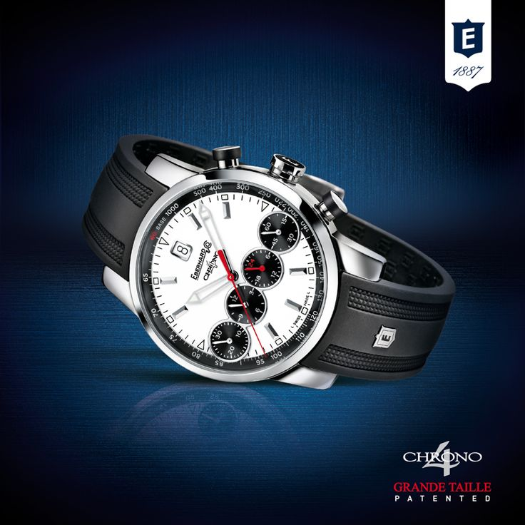Chrono 4 Grande Taille by Eberhard & Co., the first and only chronograph with 4 counters in line (Patented – Registerd Desing)  http://www.eberhard-co-watches.ch/en/collections?cat=grande-taille-chrono-4