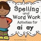 ay, ai Spelling, Word Work or Phonics Center... by 180 Days of Reading | Teachers Pay Teachers