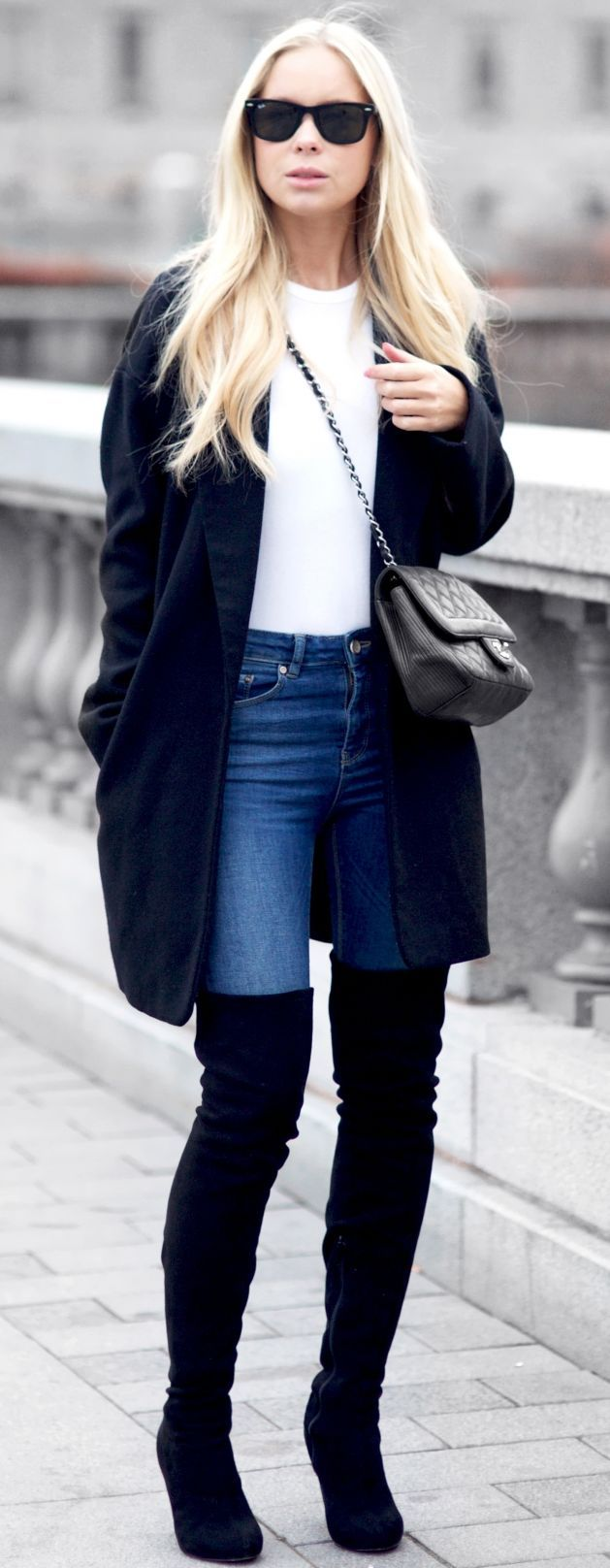 Black Oversize Coat And Overknees Hall Street Style Inspo by Victoria Tornegren