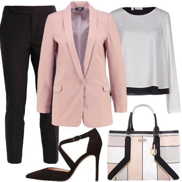 Outfit+semplice+ed+elegante+per+discutere+la+tesi.+Pantaloni+lunghi+alla+caviglia+con+tasche+laterali,+cinturino+con+cerniera+nascosta,+abbinati+alla+blusa+in+doppio+tessuto+crêpe+di+poliestere+in+contrasto,+sopra+bianco+e+sotto+nero.+Blazer+color+neutral+con+collo+a+scialle+e+tasche+con+patta.+Mary+jane+con+tacco+a+spillo+rivestito+e+chiusura+con+fibbia,+borsa+a+mano+in+similpelle+multicolore+chiara+con+inserti+neri+in+contrasto.