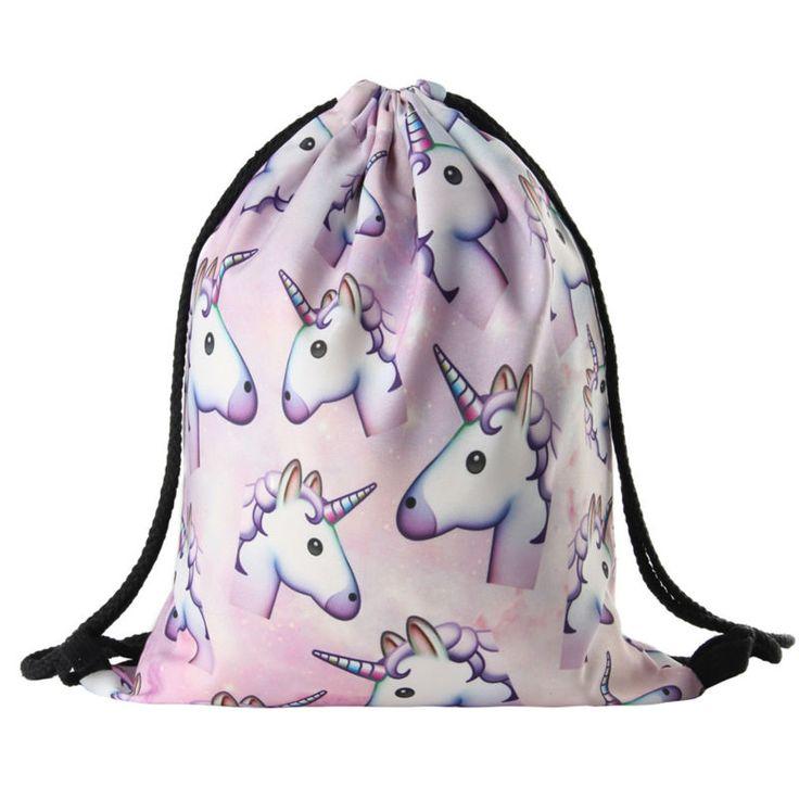 2016 nuevas Mujeres de la moda Mochila unicornio 3D softback viajes impresión mujeres bolso de lazo mochila niñas de La Escuela mochilas