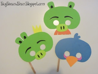 Bug, Boo, and Bean: Angry Bird Masks + Printable: Link Parties, Birds Birthday, Birthday Parties, Beans, Parties Tomorrow, Parties Ideas, Angry Birds, Birds Parties, Birds Masks