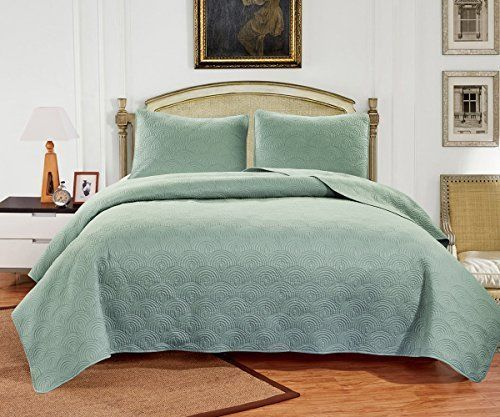 Bedding Summer Coverlet Quilt Set Queen Size 3 Pcs Seafoam Comfort Soft Bedroom  #WilliomTown
