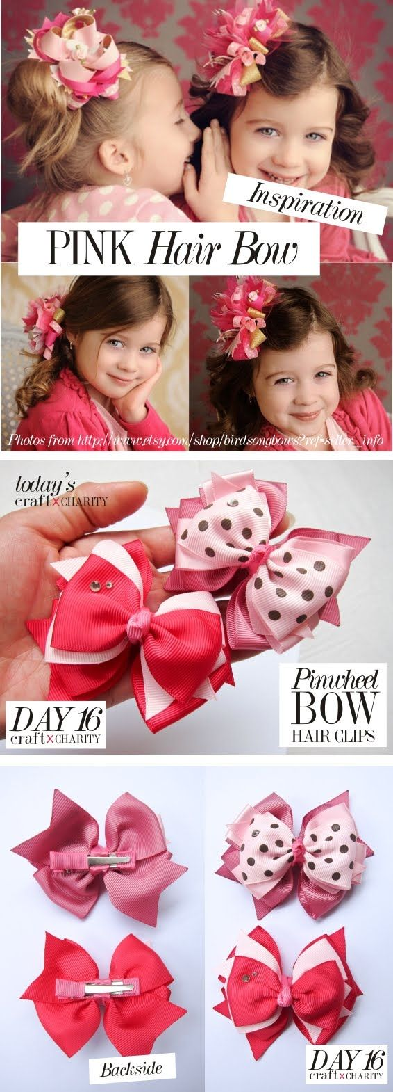 Day 16 - PINK pinwheel bow hair clips set ( 2 in 1 )