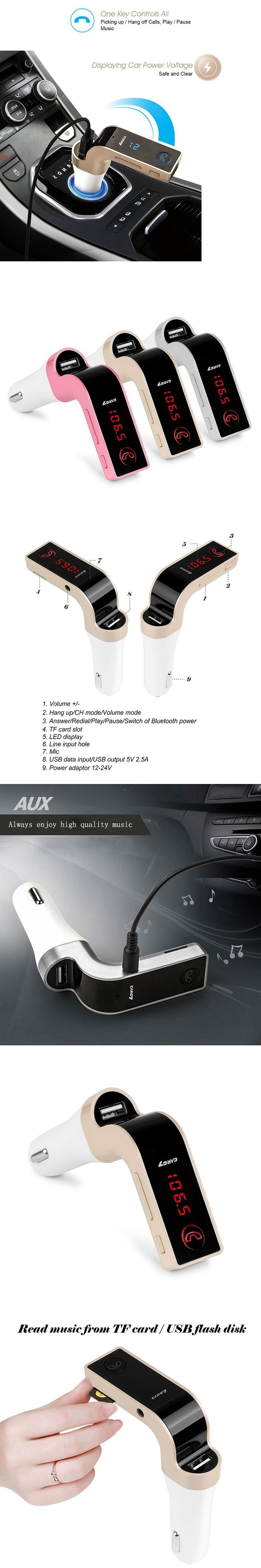 G7 Car Bluetooth FM Transmitter with USB MP3 Player Wireless FM Modulator Car Kit TF Radio Car Charger with LCD Display
