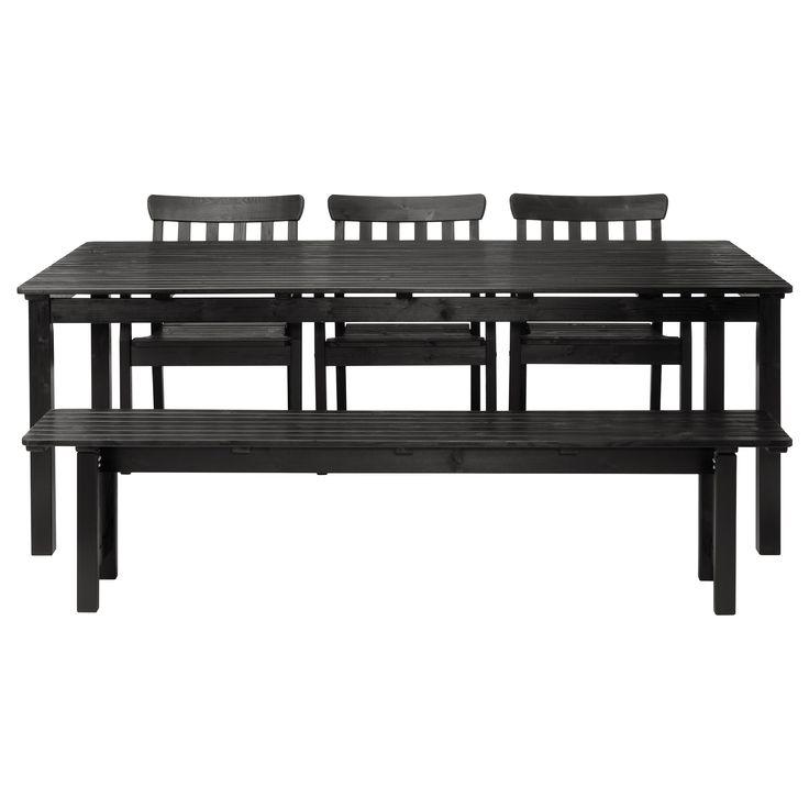 ngs table banc et 3 chaises brun noir ikea summer pinterest bancs ikea et brun. Black Bedroom Furniture Sets. Home Design Ideas