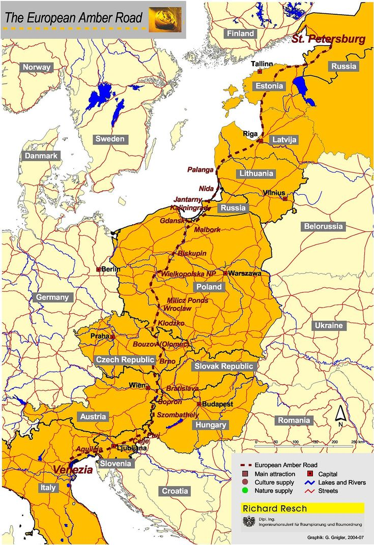 The Amber Road was an ancient trade route for the transfer of amber. As one of the waterways and ancient highways, for centuries the road led from Europe to Asia and back, and from northern Africa to the Baltic Sea.