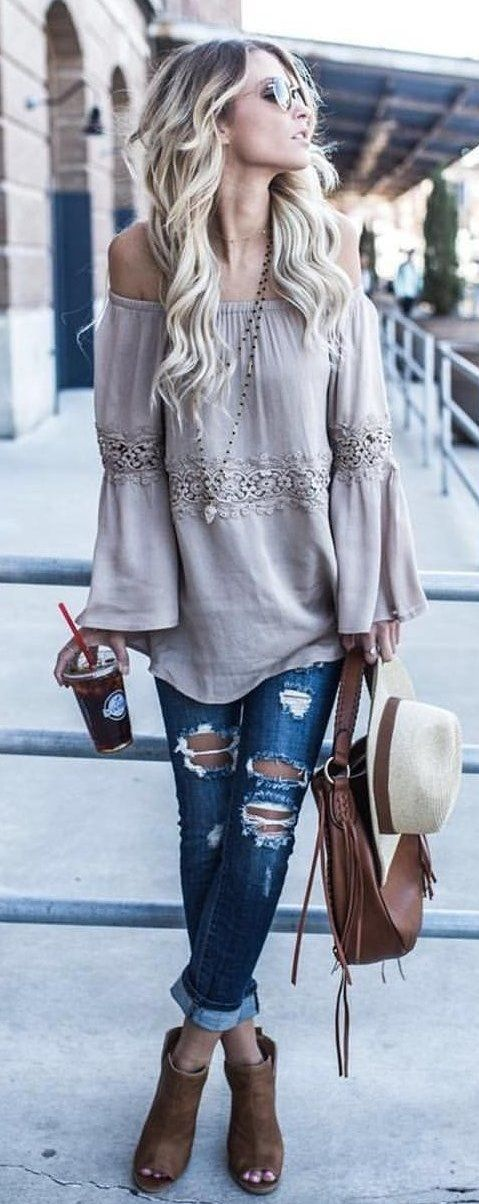 #summer #outfits  Grey Off The Shoulder Top + Ripped Jeans + Brown Open Toe Booties