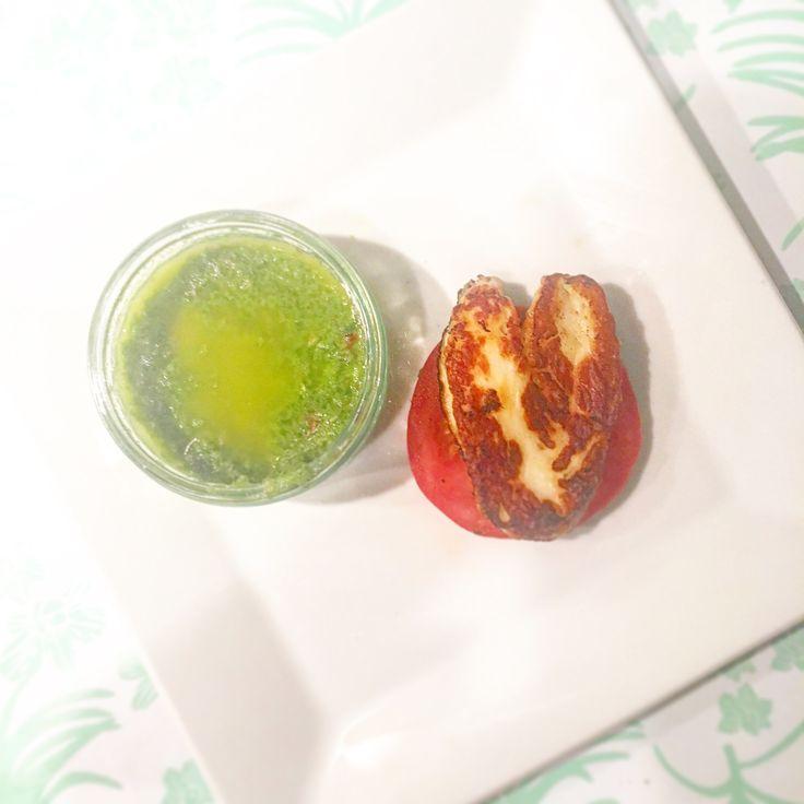Grilled halloumi over tomato w/ a side of home made jalapeño sauce #RETOX