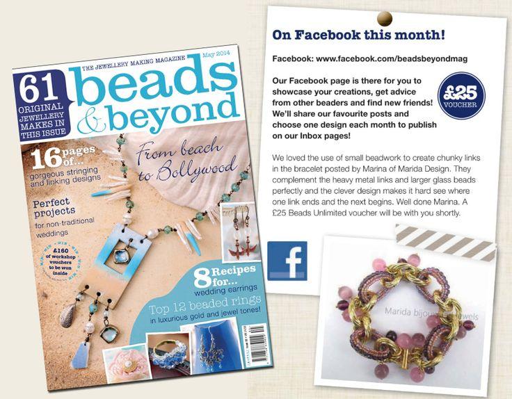 "Il mio bracciale ""Gold Lilac"" pubblicato nella inbox di ""Beads & Beyond"" magazine.  •••My ""Gold Lilac"" bracelet on ""Beads & Beyond"" magazine last may issue!"