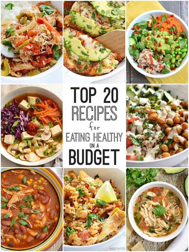 A convenient compilation of the top 20 recipes for eating healthy on a budget from @budgetbytes. Meat and Vegetarian recipes included!