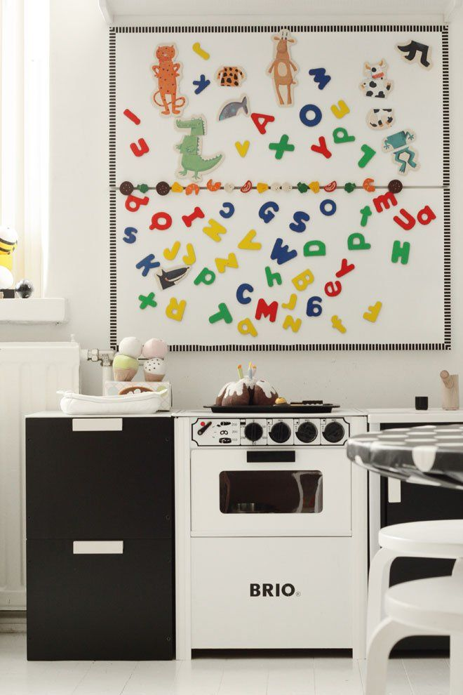 Brio kitchen // Black and white playroom