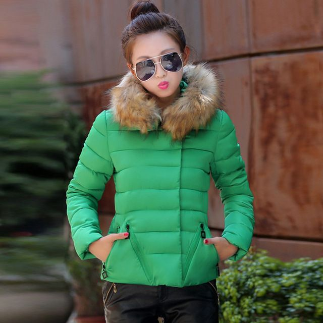 5 Colors Winter Women Jackets 2015 Fashion Down Cotton Parka Hooded Slim Large Faux Fur Collar Winter Coats Plus High Quality