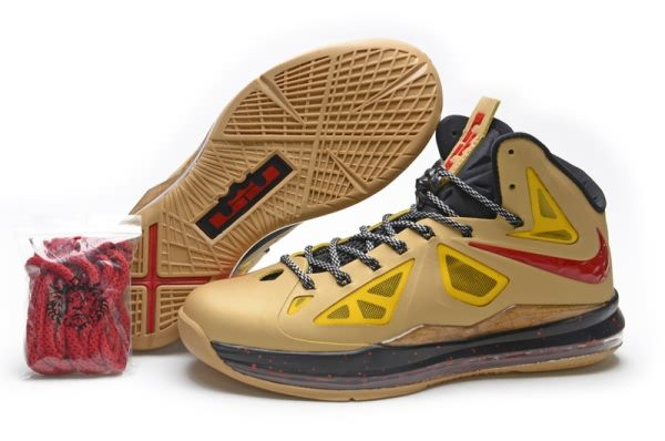 newest 9fb41 4f147 Nike Air Max LeBron James X 10 Limited Gold Red Basketball shoes