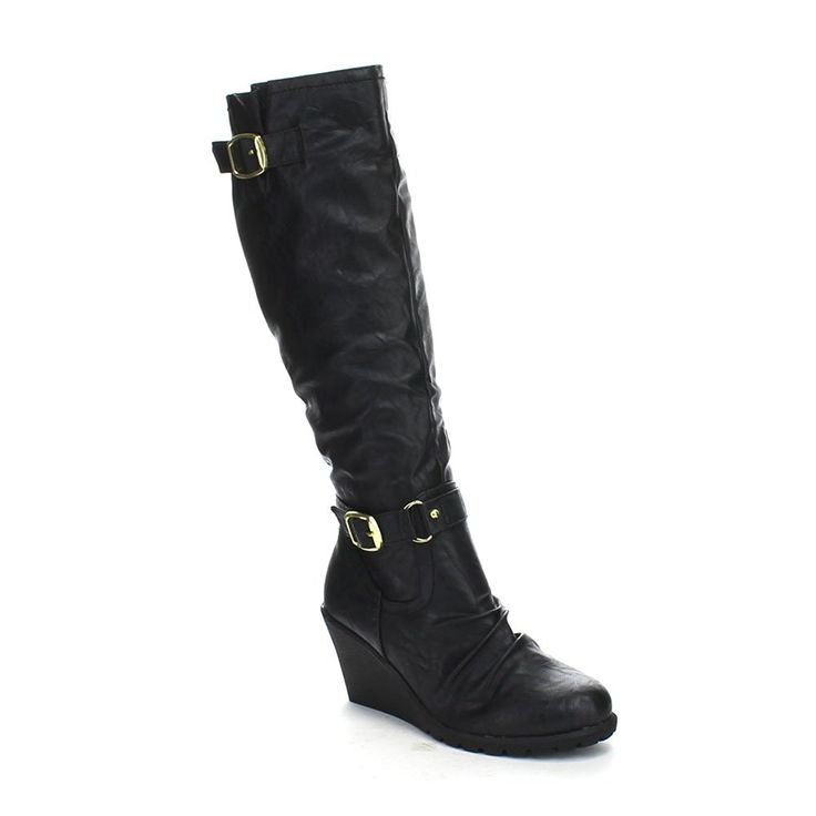 FAHRENHEIT ELSA-02 Women's Riding Knee High Wedge Heel Boots *** You can get more details by clicking on the image.