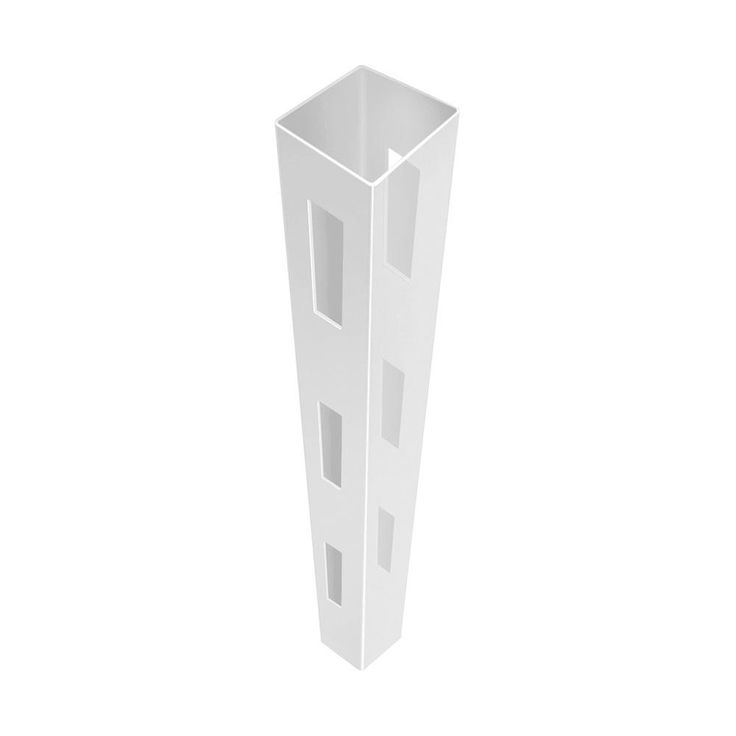 5 in. x 5 in. x 7 ft. 3-Hole White Vinyl Fence Line Post