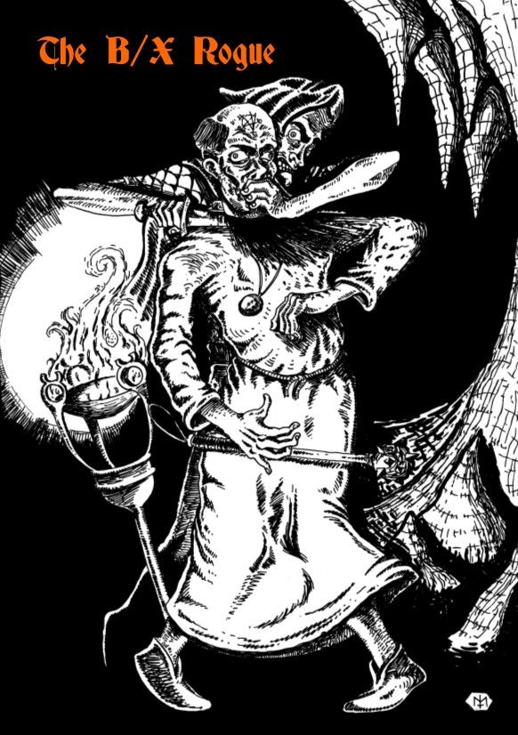 The B/X Rogue - Necrotic Gnome Productions | Explode the talents of your sneaky characters with this book!  More than simply a thief, the rogue class has access to talents drawn from a wide array of archetypes, all integrated into a single class. Scouts & spies, burglars & tomb robbers, charlatans & con-artists, swashbucklers & explorers, brigands & highwaymen, assassins & thugs. No need for all of those specialised sub-classes any more!