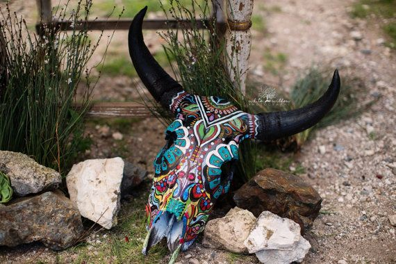 Hey, I found this really awesome Etsy listing at https://www.etsy.com/listing/198615258/hand-painted-sugar-skull-style-cow-skull