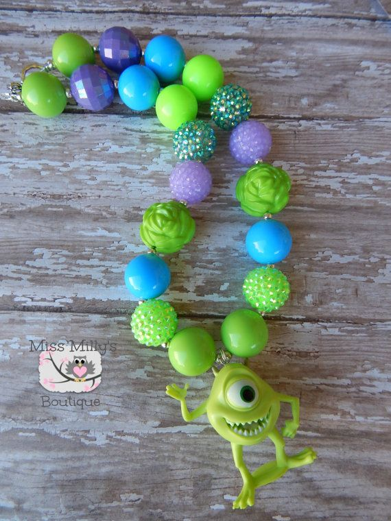 Mike Monsters Inc Girls Chunky Necklace by MissMillysBoutique, $17.50