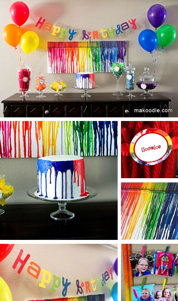 Art Birthday Party from Makoodle! The DIY melted crayon backdrop is a cute and creative centerpiece!