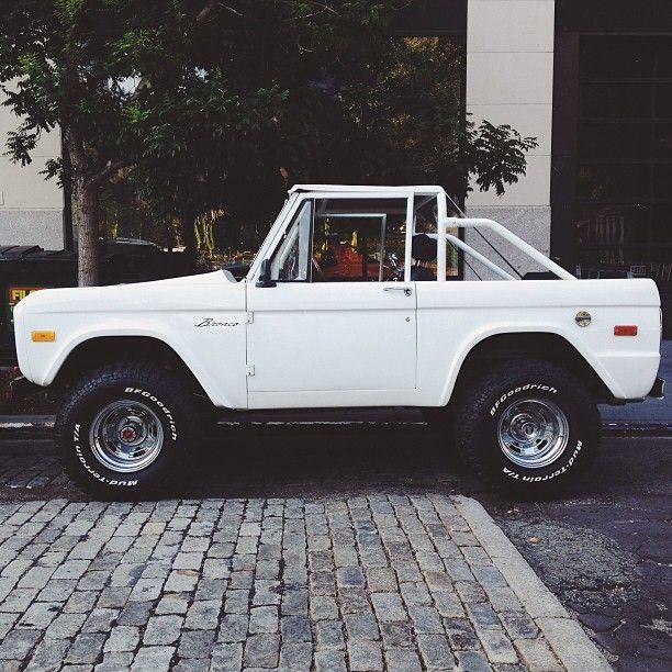 Dream Car, white old school bronco.
