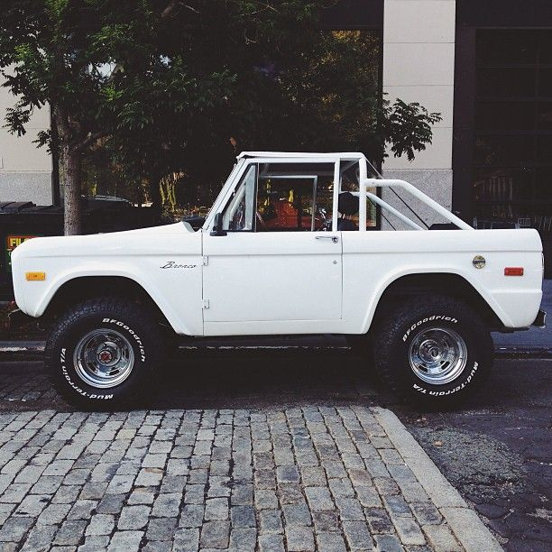 Dream Car, white old school bronco.