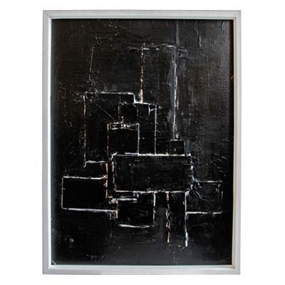 Black with white line graphic rectangles abstract painting on board in matte white frame by marco croce italian contemporary