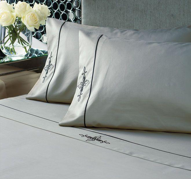 Linen House Boutique Belmont Sheet Set Black and SIlver