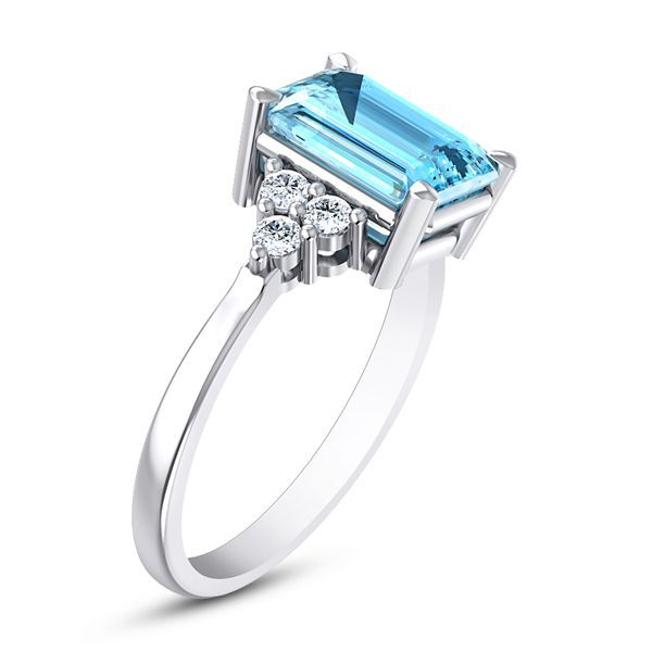 Piscis Diamond and Aquamarine Ring #DiamondGift #WeddingRing